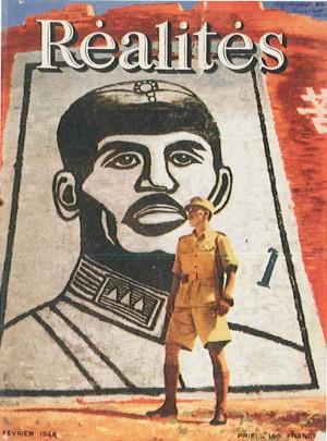 Couverture du premier numéro: Commandant Tchiang Wei-Kouo devant l'image de son père (dessin d'après une photographie) - Réalités n°1, février 1946